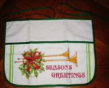 VINTAGE CHRISTMAS COTTON HALF APRON - SEASONS GREETINGS RIBBON POINSETTIA NEW
