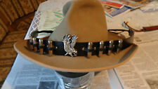 Eagle and Silver ( tone )  Bullets Black Leather Hatband    Western Biker