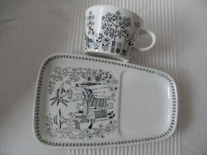 . Emilia ARABIA FINLAND SNACK PLATE & CUP