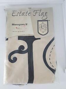 Evergreen Estate Size #12678 Beige Black Monogram U $40 Banner Flag