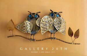 MID CENTURY MODERN C JERE BLUE-EYED OWLS DIRECT METAL SCULPTURE! BRUTALIST! VTG