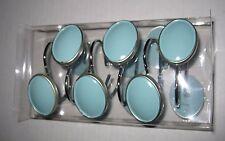 Saturday Knight Ltd. Vine Blue Silver Oval Resin Metal Shower Curtain Hooks NEW