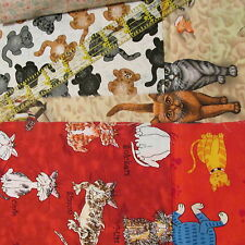 Cotton Fabric Scrap Bundle CATS remnant Kitty 5 ounce Craft Lot