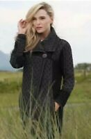 INIS CRAFTS Gray & Black Cable Knit Merino Wool Long Cardigan Sweater Size M