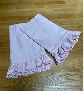 POTTERY BARN KIDS Pair of 2 Pink Pleated Curtain Valance Lined Pocket Rod 18x42