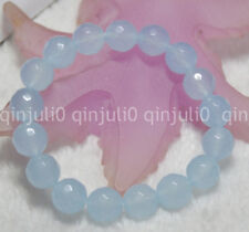 "Natural 12mm Faceted Blue Aquamarine Round Beads Stretch Bracelets 7.5"" J3232"