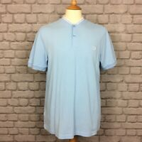 FRED PERRY MENS UK L BLUE SLIM FIT TWIN TIPPED GRANDAD COLLAR POLO SHIRT SUMMER