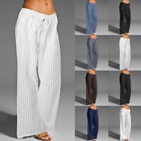 Womens Casual Harem Long Pants Wide Leg Yoga Beach Loose Holiday Palazzo Trouser