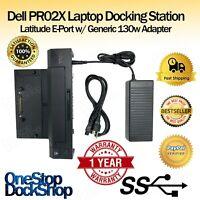 Dell PR02X Latitude E-Port Laptop Docking Station w/ Generic 130W Adapter