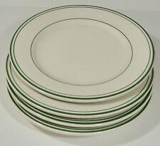"4 Buffalo China Restaurant Ware Green Stripe 8 3/4"" Lunch Dinner Plates EUC"