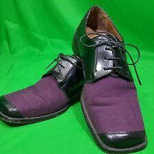 Stacy Adams Black Purple Dress Shoe Sz 8 Leather Formal Lace Up Trendy Bike Toe