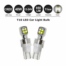 Pair T10 Super Bright 40W Cree LED Reverse Light Bulb W5W CANBUS Globe 12-24V DC