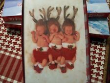 Leanin Tree Christmas Card Set Adorable Baby Reindeer'S Anne Geddes 10 Pk New !