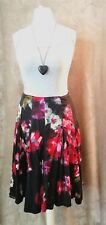 Phase Eight navy floral gypsy boho flare skirt summer folk peasant Size 14