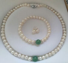 Natural White Akoya Cultured Pearl &Green Emerald Bracelet Necklace Earrings set
