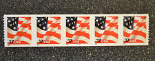 2002USA #3632 37c Flag American Plate Number Coil Strip of 5 PNC Mint #9999