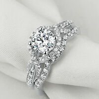 Newshe Wedding Engagement Ring Set 1.7ct Round White Cz 925 Sterling Silver 5-10