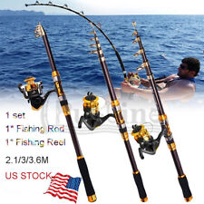 Fishing Rod & Reel Telescopic Portable Saltwater Freshwater Spinning Pole Metal