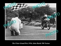 OLD HISTORIC MOTORCYCLE PHOTO OF JOHN HARTLE & HIS 500 NORTON, ULSTER GP 1956 1