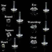 Push-in CZ Bioplast Labret Lip Ring Ear Cartilage Tragus Piercing Stud Earring