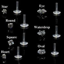 Push-in CZ Bioplast Labret Lip Ring Ear Cartilage Tragus Piercing Stud Earring