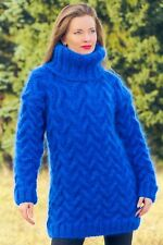 New blue handmade mohair sweater chunky thick wool hand knit turtleneck jumper