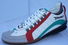 New Dsquared2 Mens Shoes White Sneakers 551 Tennis Size 43 Vitello Sport Multi
