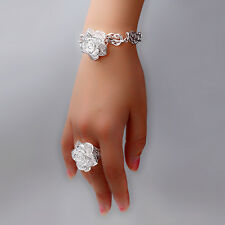 925Sterling Silver Womens Accessories Rose Flower Bracelet Ring Set FS442+BOX
