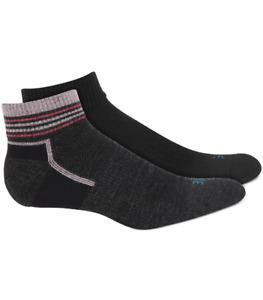 HUE Women's 2-Pack Wool Striped Welt Quarter Socks One Size Black