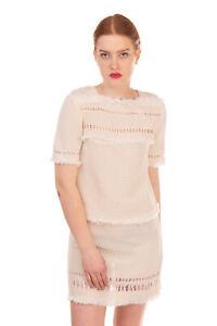 RRP €635 ISABEL MARANT Crochet Boho Dress Size 38 / M Ivory Unlined Fringe Trim