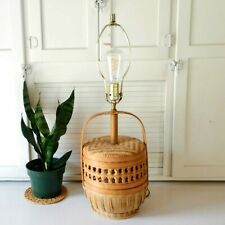 Vintage Basket Lamp Woven Rattan Wicker Bohemian Boho Mid Century Table Lighting