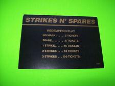 Gottlieb STRIKES N SPARES Original Flipper Game Pinball Machine Instruction Card