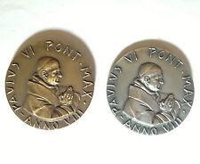 Coppia medaglie argento bronzo annuale Paolo VI anno VIII 50 sacerdozio 1971