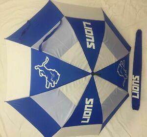 "Detroit Lions Logo 62"" Double Canopy NFL Licensed Windproof Umbrella, Blue/White"