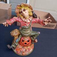 "Vintage 1977 Byron Molds Scare Crow With Pumpkin Ceramic Figurine 12 1/4"" - EUC"