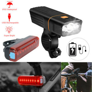 T 6 LED Bicycle Lights Bike USB Rechargeable Front Rear Headlight Tail Lamp Set