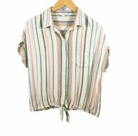 Beach Lunch Lounge Womens Top Size XS Rainbow Striped Tie Short Sleeve Button