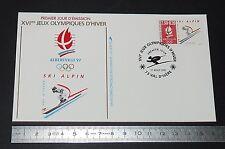 ENVELOPPE 1er JOUR PHILATELIE 1991 JEUX OLYMPIQUES ALBERTVILLE 92 SKI ALPIN