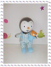 * - Doudou Peluche TChoupi T'Choupi Pyjama Bleu Blanc Ourson Luminou  25 cm