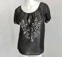 M NWT Heart Crowns Embroidered Beaded Black Peasant Blouse Tunic Top Women's M