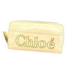 Chloe Wallet Purse Long Wallet Beige Gold Woman unisex Authentic Used K410