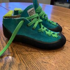 5.10 Five Ten  Teal Green Suede Lace Up Stealth Rock Climbing Shoes Size 5