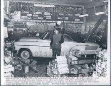 1955 Vintage Auto Crashed Into Auto Parts Store Chicago Press Photo