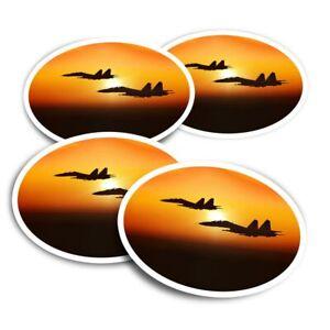 4x Round Stickers 10 cm - Military Fighter Jet Plane Sunset  #15825
