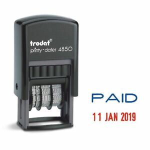 PAID DATE STAMP SELF INKING RUBBER DATER STAMP TRODAT 4850 76373 2021