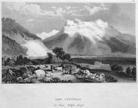 Switzerland SWISS ALPS BERNESE JUNGFRAU MOUNTAIN PEAK ~ 1840 Art Print Engraving