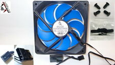 PC Gehäuse Lüfter 12cm 120mm 120x120x25mm DC 12V sehr leiser Kühler Black/Blau