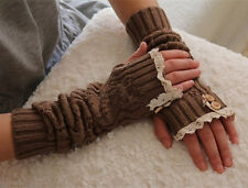 Winter Arm Warmer Gift Lady Knitted Fingerless Gloves Crochet Button Lace Mitten