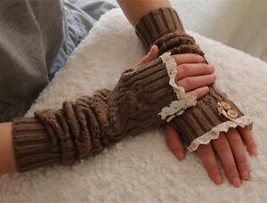 Winter Arm Warmer Gift Lady Knitted Fingerless Gloves Crochet Button Lace Mitten