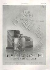 ▬► PUBLICITE ADVERTISING AD PARFUM PERFUME Feu Follet Femme Roger Et Gallet 1931